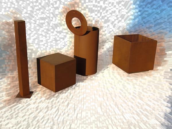 Bruno acciai elementi d 39 arredo urbano in acciaio cor ten for Elementi d arredo